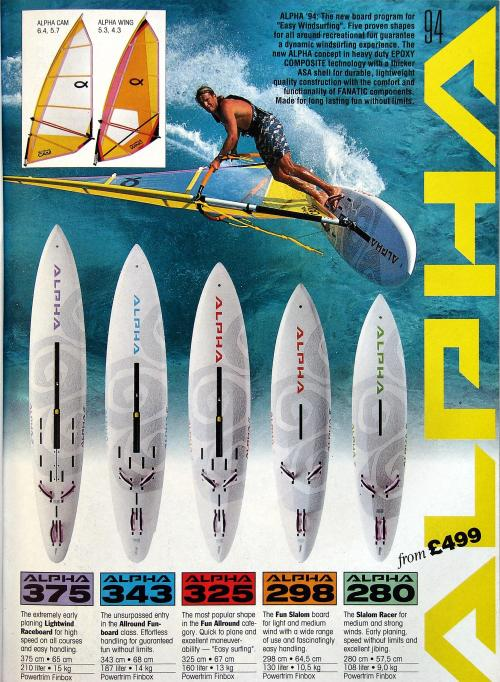 ALPHA windsurfing boards range 1994